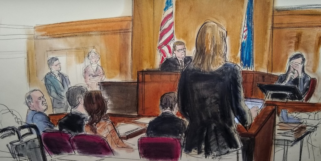 In this courtroom sketch, a witness weeps as she testifies during the Harvey Weinstein trial, Friday, Jan. 31, 2020, in New York. A key accuser in Wei...