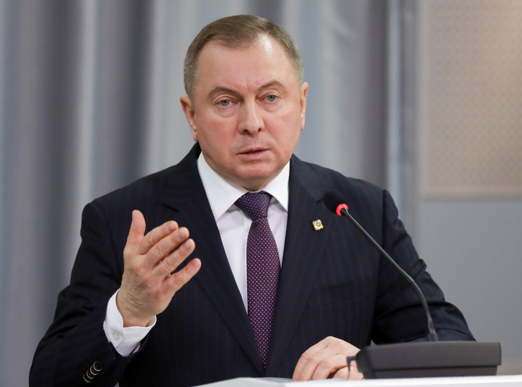 Belarus Foreign Minister Vladimir Makei gestures while speaking during his and U.S. Secretary of State Mike Pompeo joint news conference following the...