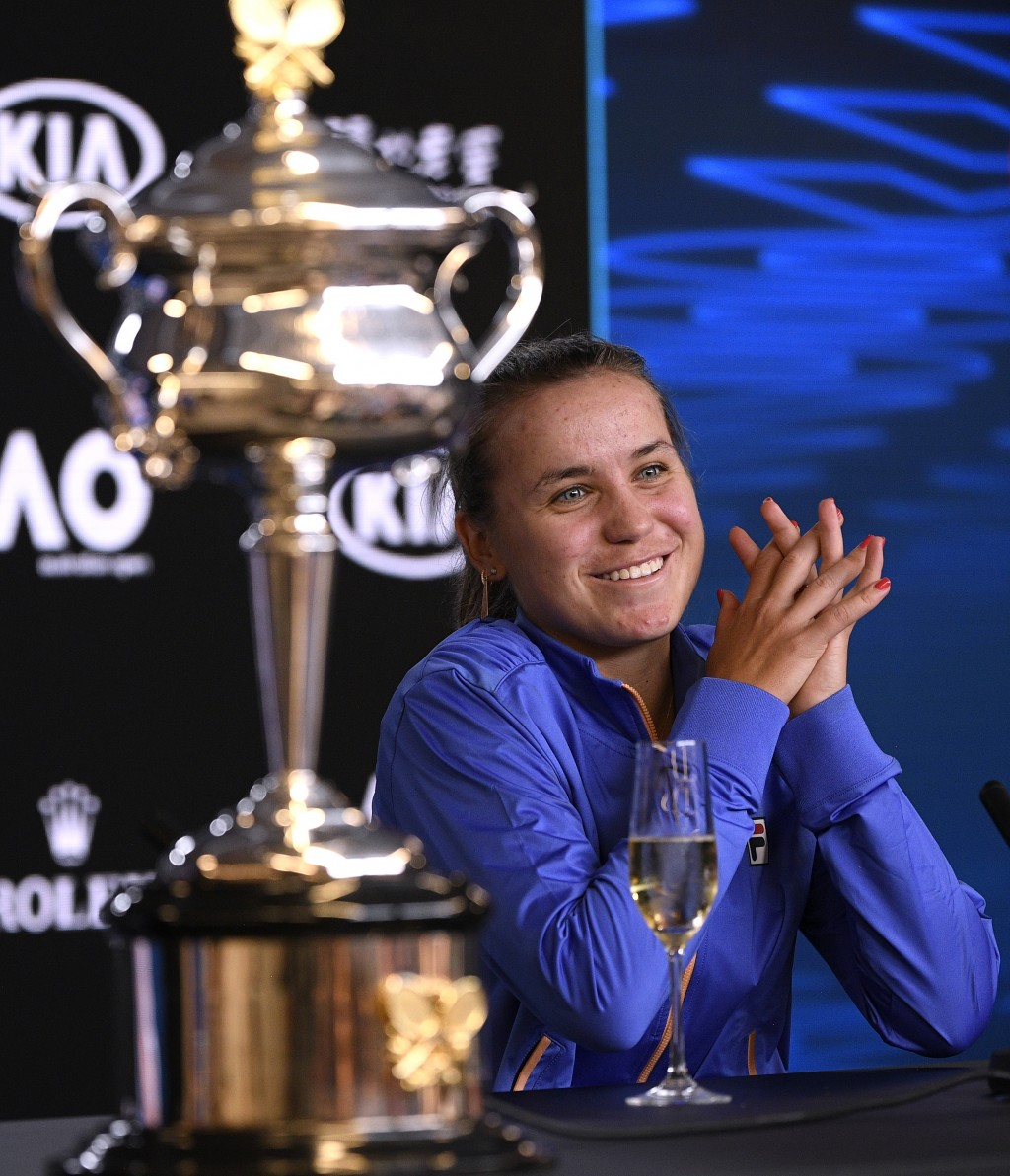 Sofia Kenin of the U.S. answers questions at a press conference following her win over Spain's Garbine Muguruza in the women's final at the Australian...