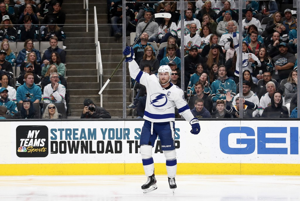 Tampa Bay Lightning center Steven Stamkos celebrates his goal during the second period of the team's NHL hockey game against the San Jose Sharks in Sa...