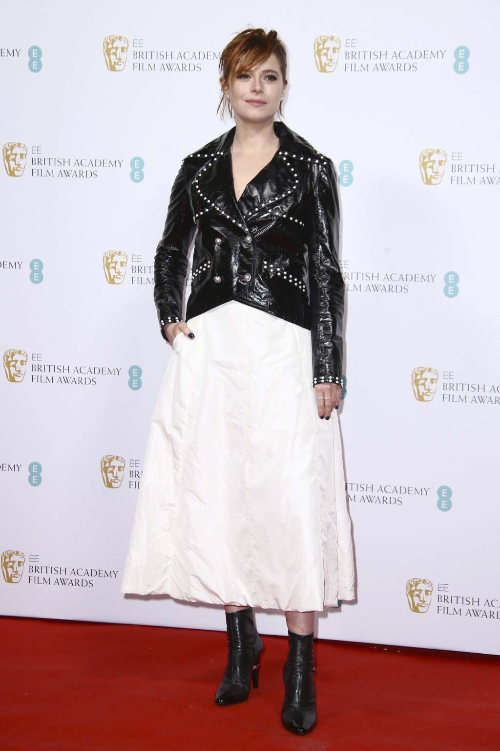 Actress Jessie Buckley poses for photographers upon arrival at the Bafta Nominees Party, in central London, Saturday, Feb. 1, 2020. (Photo by Joel C R...