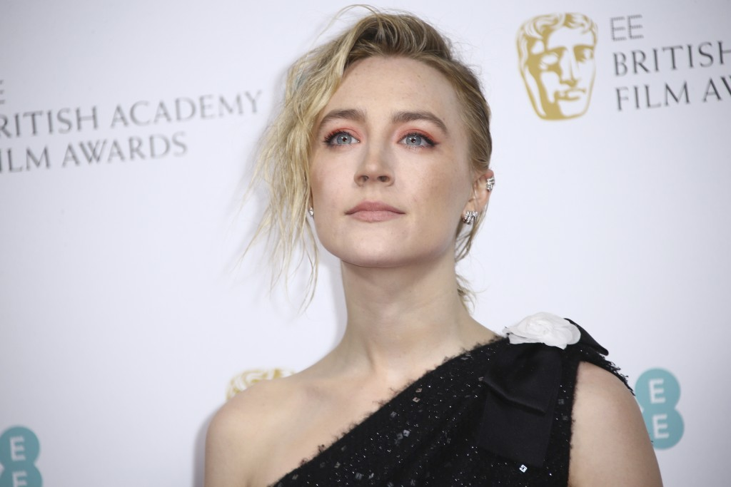 Actress Saoirse Ronan poses for photographers upon arrival at the Bafta Nominees Party, in central London, Saturday, Feb. 1, 2020. (Photo by Joel C Ry...