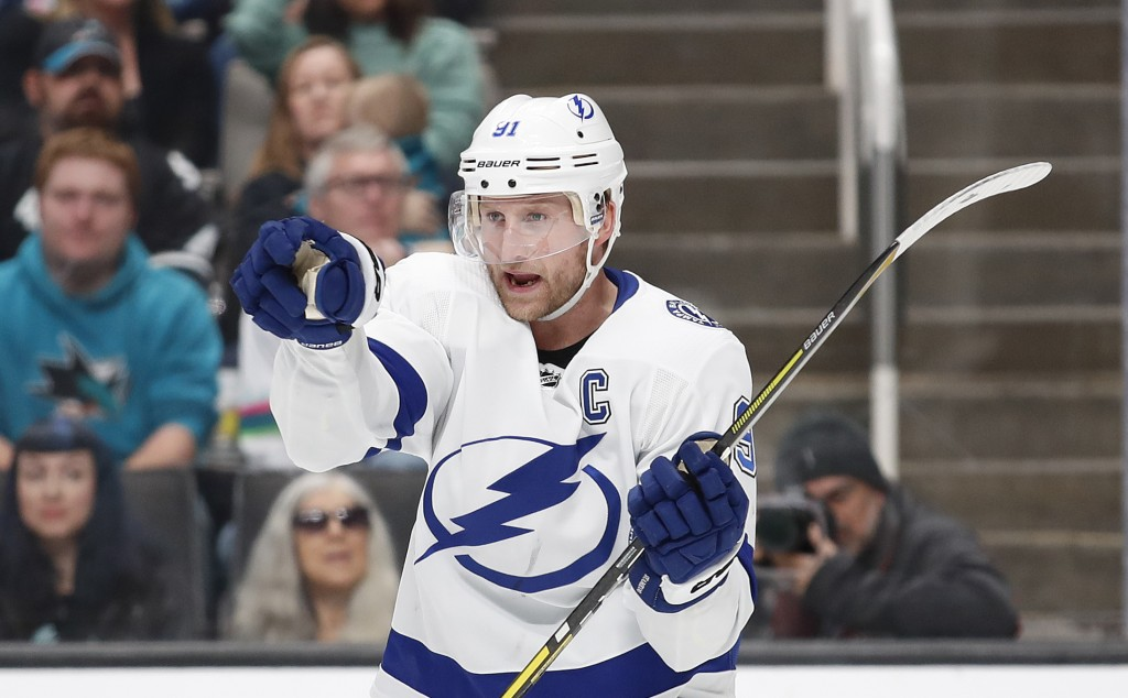 Tampa Bay Lightning center Steven Stamkos celebrates after scoring a goal during the second period of the team's NHL hockey game against the San Jose ...