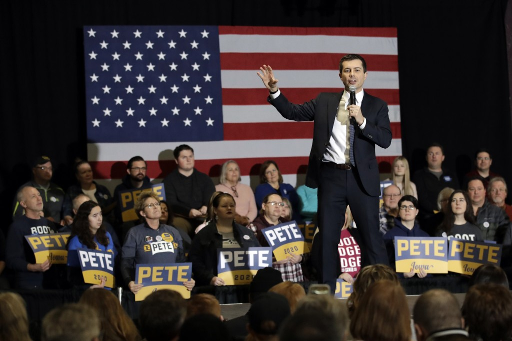 Democratic presidential candidate former South Bend, Ind., Mayor Pete Buttigieg speaks during a campaign event Saturday, Feb. 1, 2020, in Waterloo, Io...