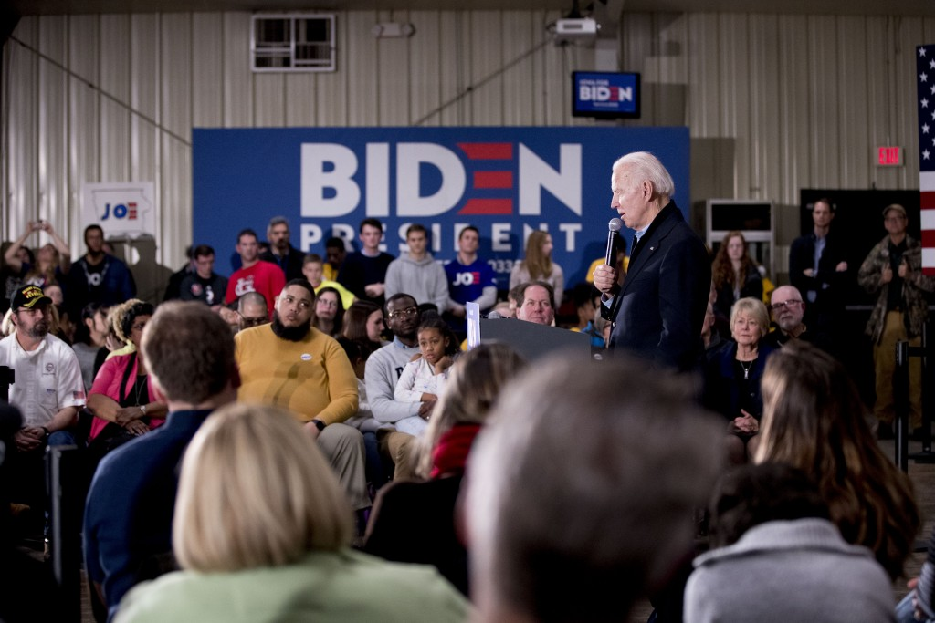 Democratic presidential candidate former Vice President Joe Biden speaks at a campaign stop at National Cattle Congress Pavilion, Saturday, Feb. 1, 20...