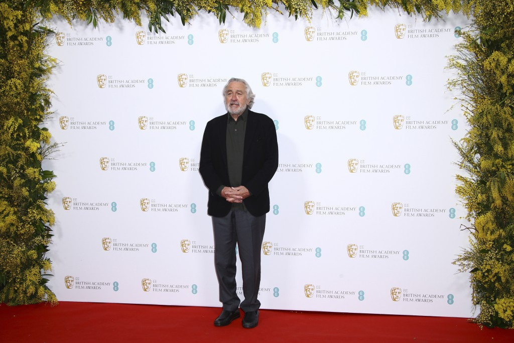 Actor Robert De Niro poses for photographers upon arrival at the Bafta Nominees Party, in central London, Saturday, Feb. 1, 2020. (Photo by Joel C Rya...