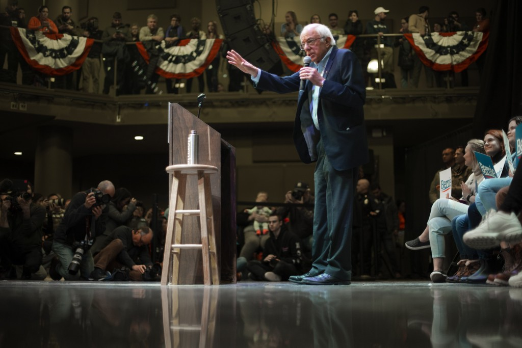Democratic presidential candidate Sen. Bernie Sanders, I-Vt., speaks at a campaign event at The Black Box Theater, Saturday, Feb. 1, 2020, in Indianol...