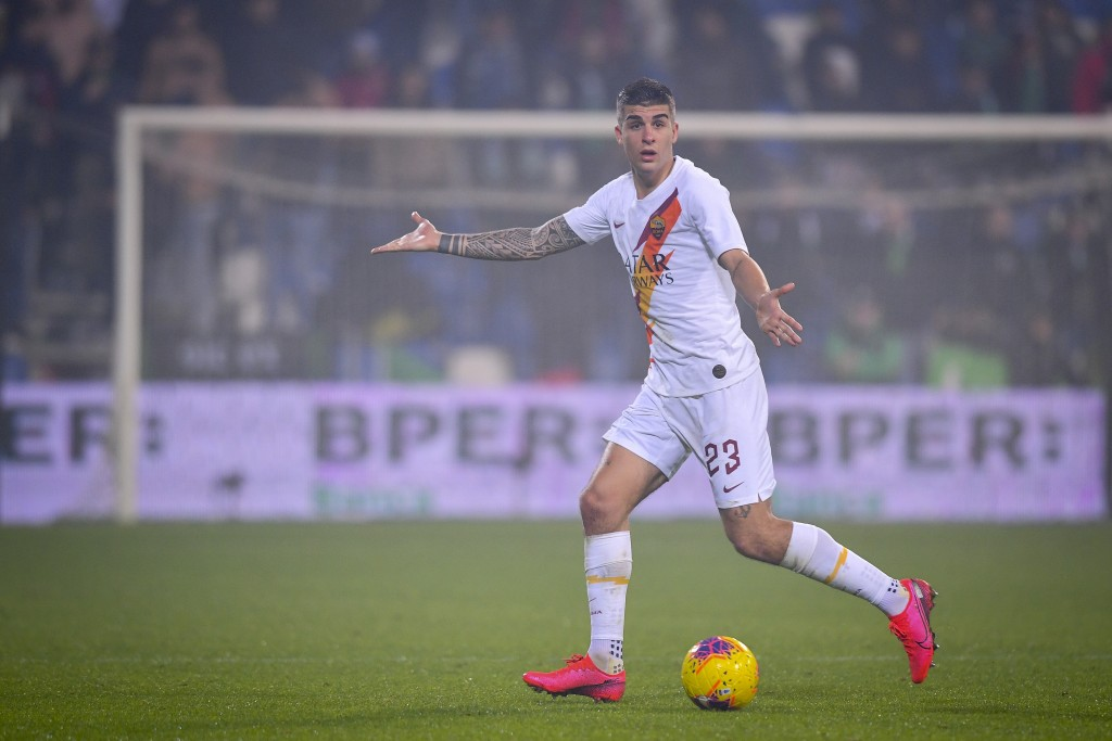 Roma's Gianluca Mancini gestures during a Serie A soccer match between Roma and Sassuolo, in Reggio Emilia, Italy, Saturday, Feb. 1, 2020. (Fabio Ross...