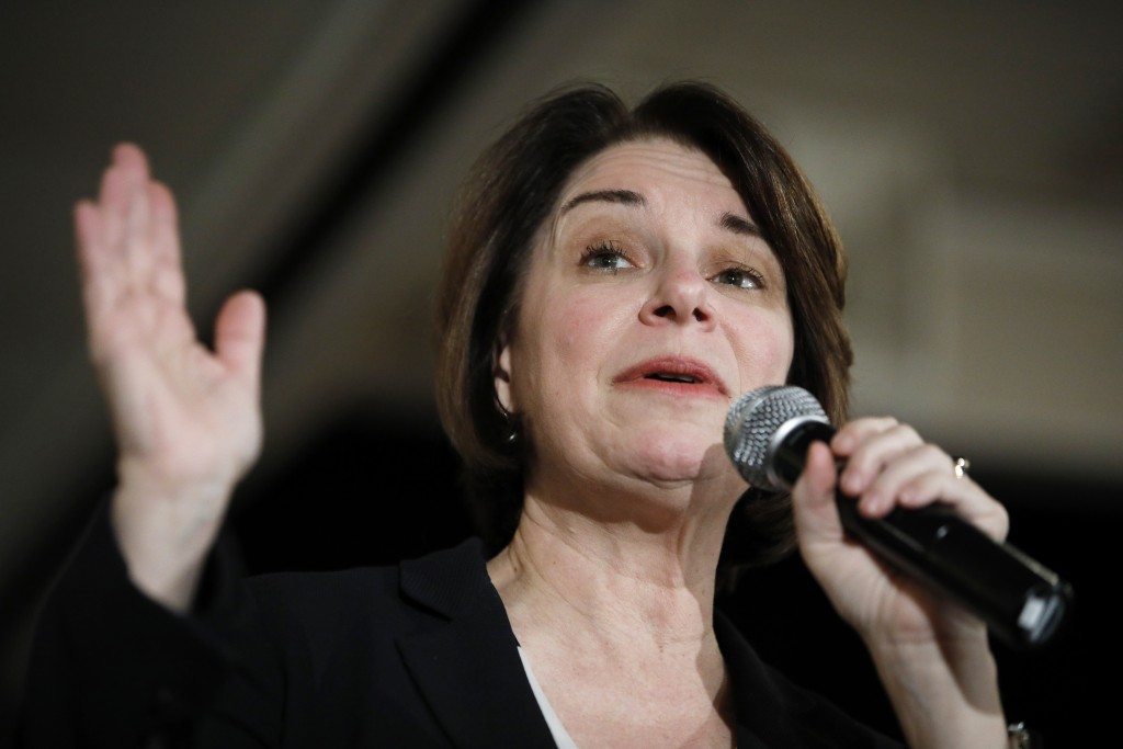 Democratic presidential candidate Sen. Amy Klobuchar, D-Minn., speaks at a campaign event Sunday, Feb. 2, 2020, in Cedar Rapids, Iowa. (AP Photo/John ...