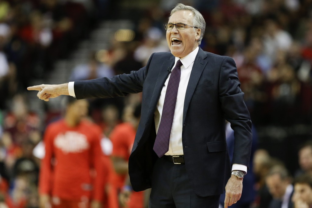 Houston Rockets head coach Mike D'Antoni yells from the sideline during the first half of an NBA basketball game against the New Orleans Pelicans, Sun...