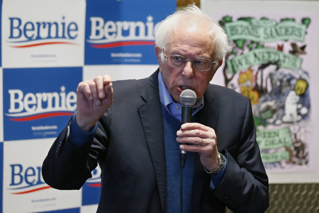 Democratic presidential candidate Sen. Bernie Sanders, I-Vt., speaks at a campaign event, Sunday, Feb. 2, 2020 in Iowa City, Iowa. (AP Photo/Sue Ogroc...
