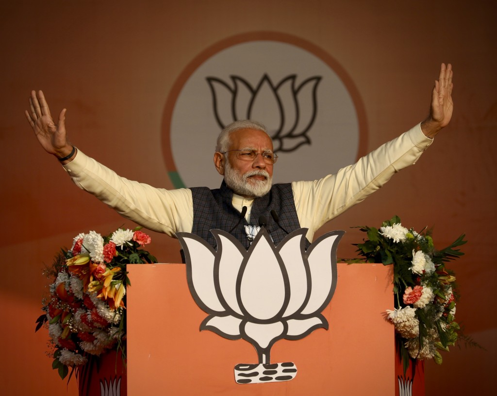 FILE- In this Monday, Feb.3, 2020 file photo, Indian Prime Minister Narendra Modi addresses his Bharatiya Janata Party's campaign rally ahead of Delhi...