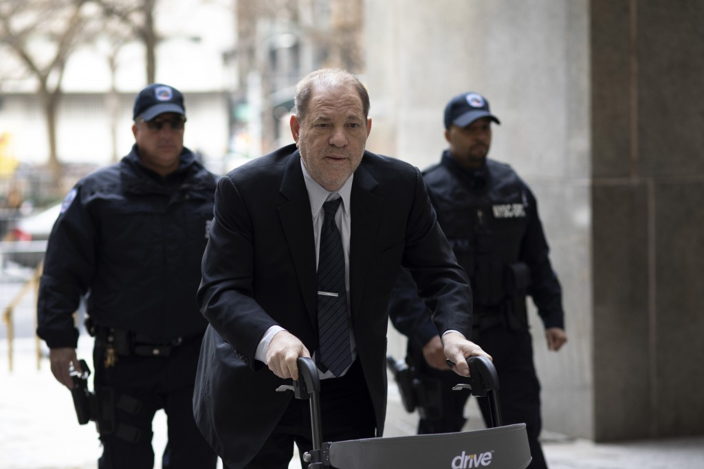 Harvey Weinstein arrives at court for his trial on charges of rape and sexual assault, Monday, Feb. 3, 2020 in New York. (AP Photo/Mark Lennihan)