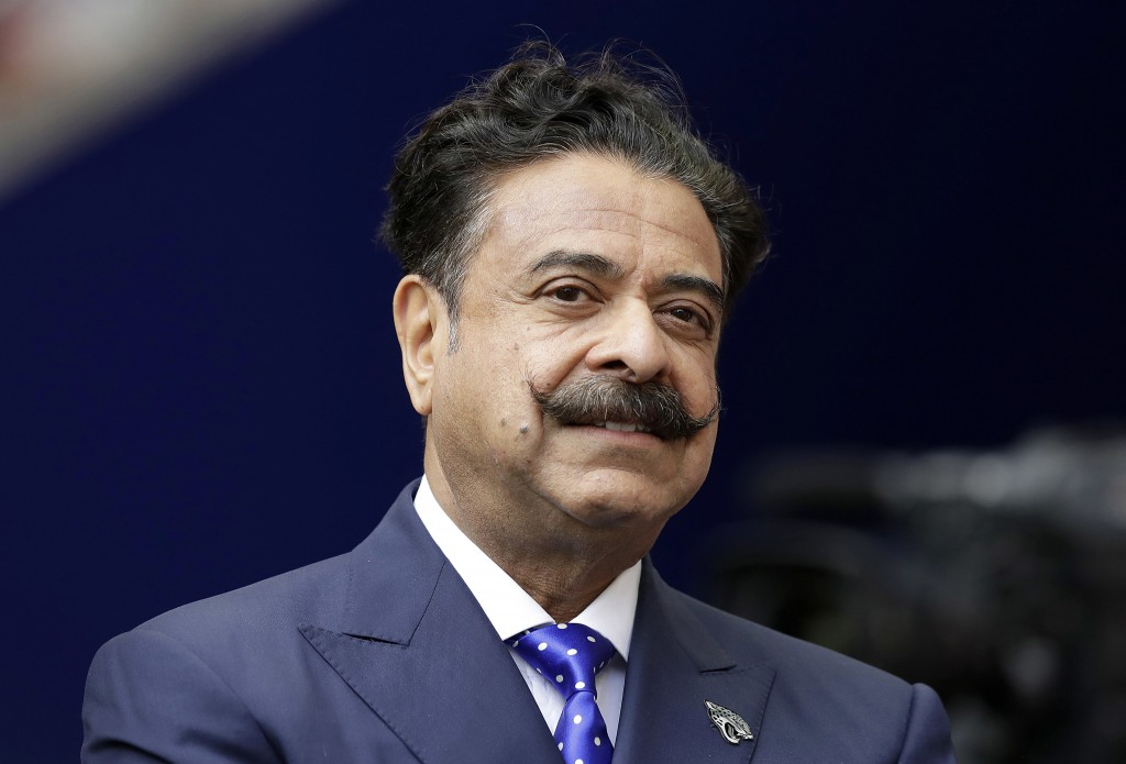 FILE - This file  Sept. 24, 2017 file photo shows Shad Khan at Wembley Stadium in London.  The Jacksonville Jaguars will play two home games in London...