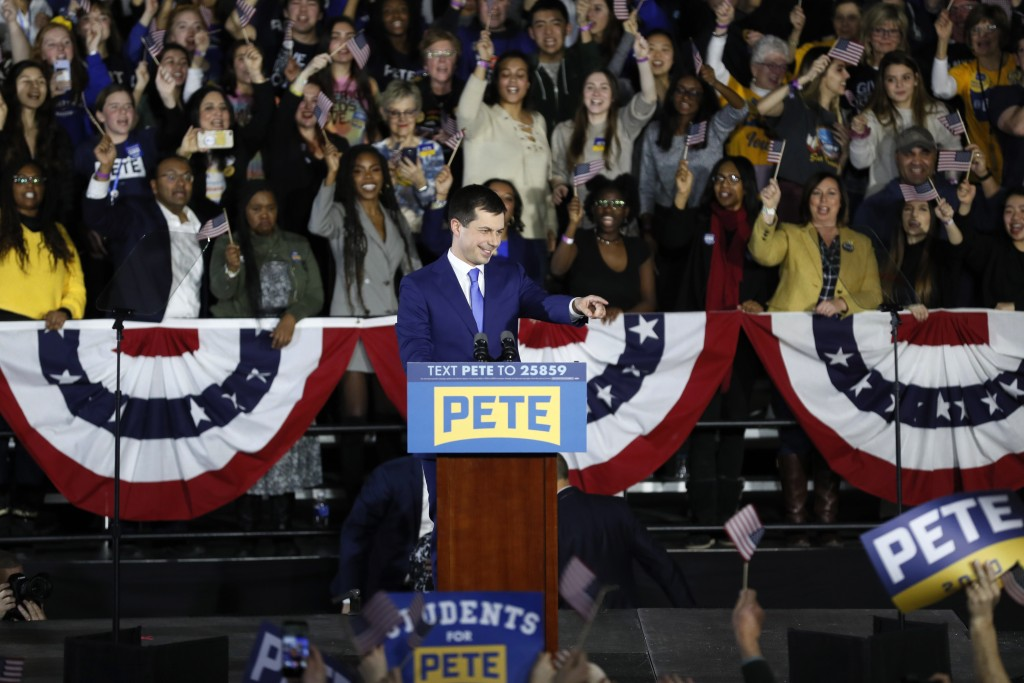 Democratic presidential candidate former South Bend, Ind., Mayor Pete Buttigieg speaks to supporters at a caucus night campaign rally, Monday, Feb. 3,...