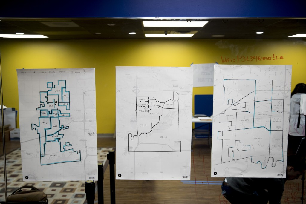 Maps are displayed on the wall of a campaign office for Democratic presidential candidate former South Bend, Ind., Mayor Pete Buttigieg on the day of ...