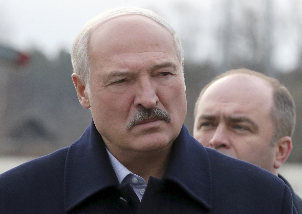 Belarusian President Alexander Lukashenko speaks to journalists as he visits the Dobrush Paper Factory in Dobrush, Belarus, Tuesday, Feb. 4, 2020.  Th...