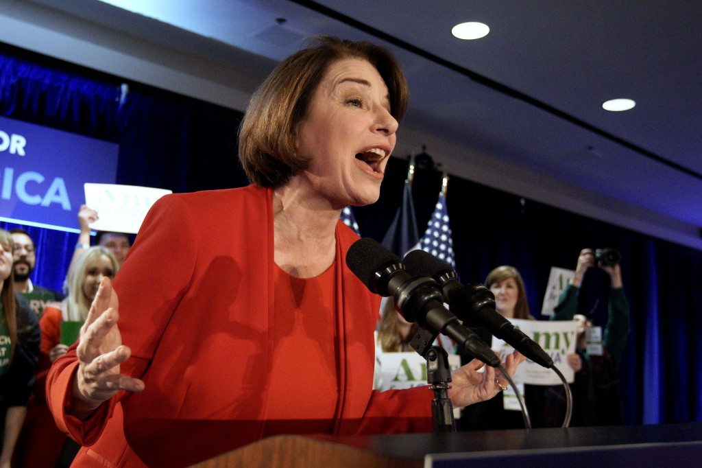 Democratic presidential candidate Sen. Amy Klobuchar, D-Minn., speaks to supporters at her caucus night campaign rally in Des Moines, Iowa, Monday, Fe...