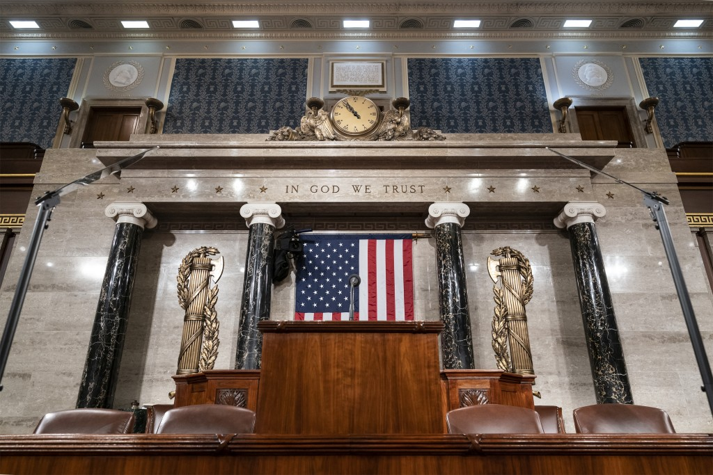 The chamber of the House of Representatives is seen at the Capitol in Washington, Monday, Feb. 3, 2020, as it is prepared for President Donald Trump t...
