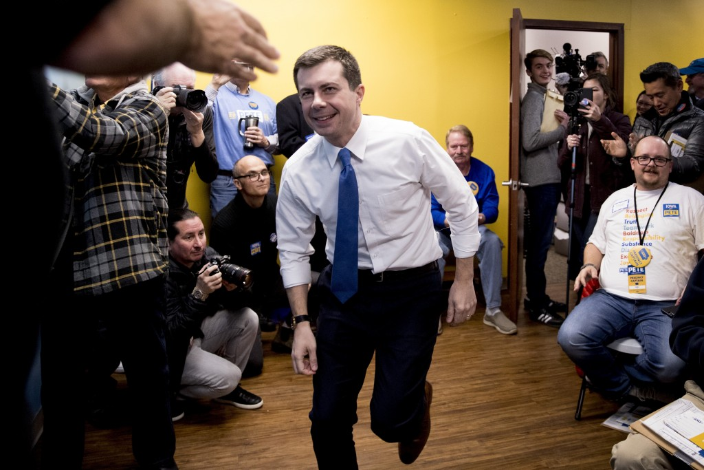 Democratic presidential candidate former South Bend, Ind., Mayor Pete Buttigieg arrives to speak at a campaign office the day of the Iowa Caucus, Mond...