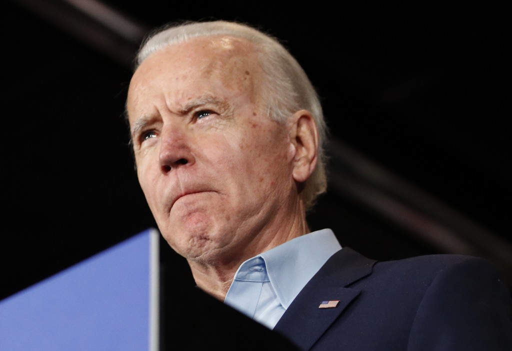 Democratic presidential candidate former Vice President Joe Biden speaks at a caucus night campaign rally on Monday, Feb. 3, 2020, in Des Moines, Iowa...