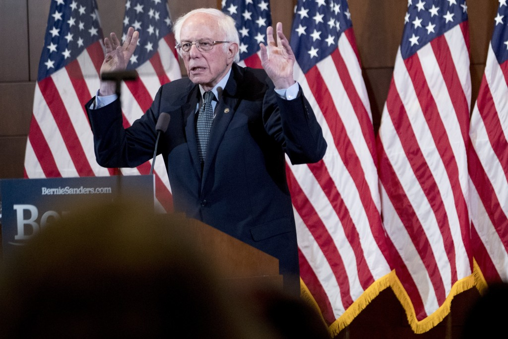 Democratic presidential candidate Sen. Bernie Sanders, I-Vt., delivers his response to President Donald Trump's State of the Union at The Currier Muse...