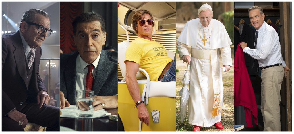 """This combination of photos shows best supporting actor Oscar nominees, from left, Joe Pesci in """"The Irishman,"""" Al Pacino in """"The Irishman,"""" Brad Pitt ..."""
