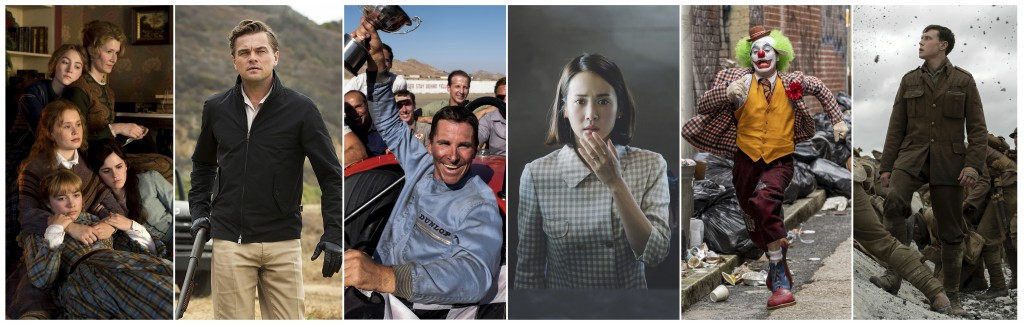 """This combination photo shows scenes from six Oscar nominated films, from left, """"Little Women,"""" """"Once Upon a Time... in Hollywood,"""" """"Ford v. Ferrari,"""" ..."""