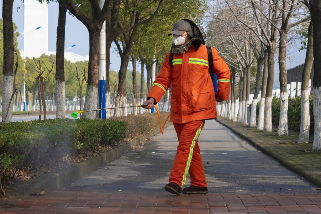 FILE - In this Jan. 28, 2020, file photo, a worker wearing a face mask sprays disinfectant along a path in Wuhan in central China's Hubei Province. Ha...