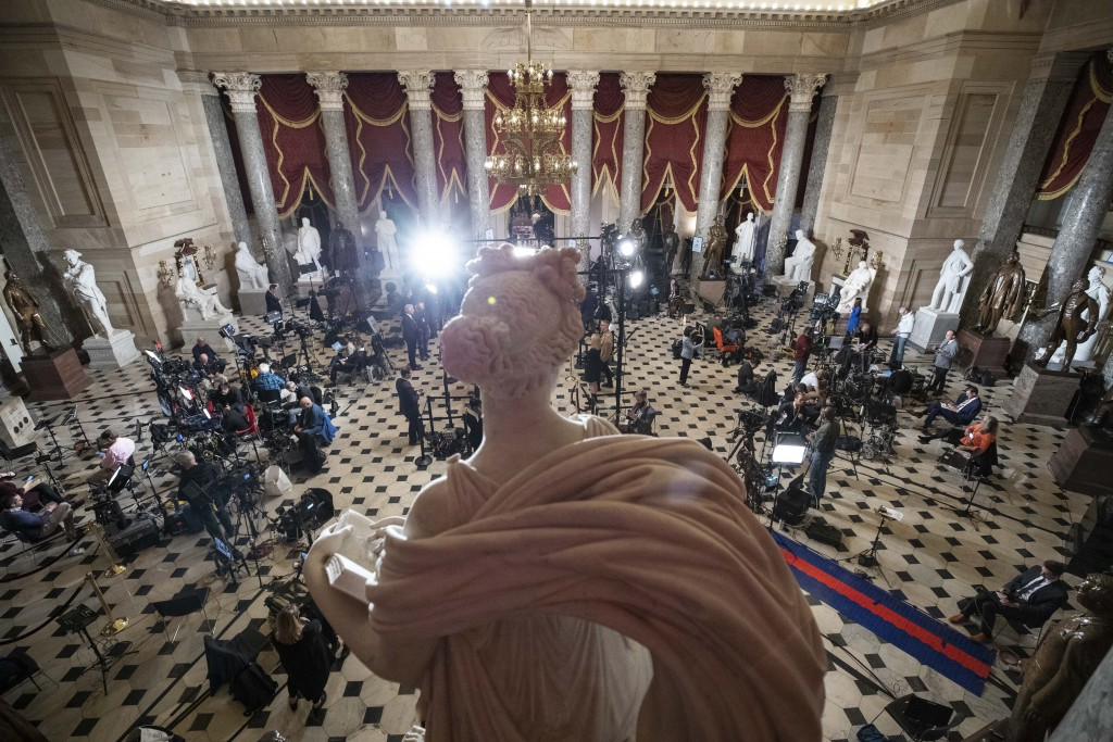 Statuary Hall, near the House floor, is set up for news media for the State of the Union address by President Donald Trump, on Capitol Hill, Tuesday, ...
