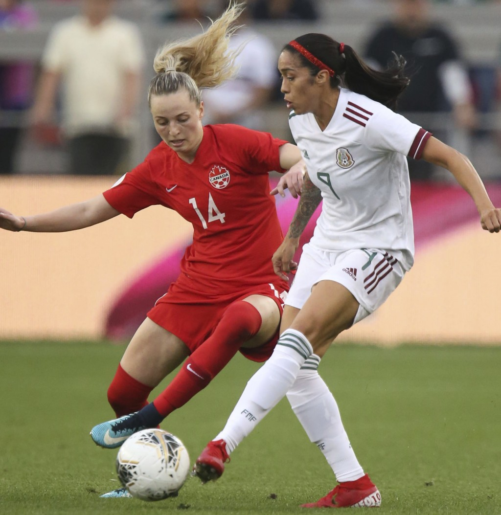 Canada's Gabrielle Carle (14) defends against Mexico's Renae Cuellar (9) during a CONCACAF women's Olympic qualifying soccer match Tuesday, Feb. 4, 20...