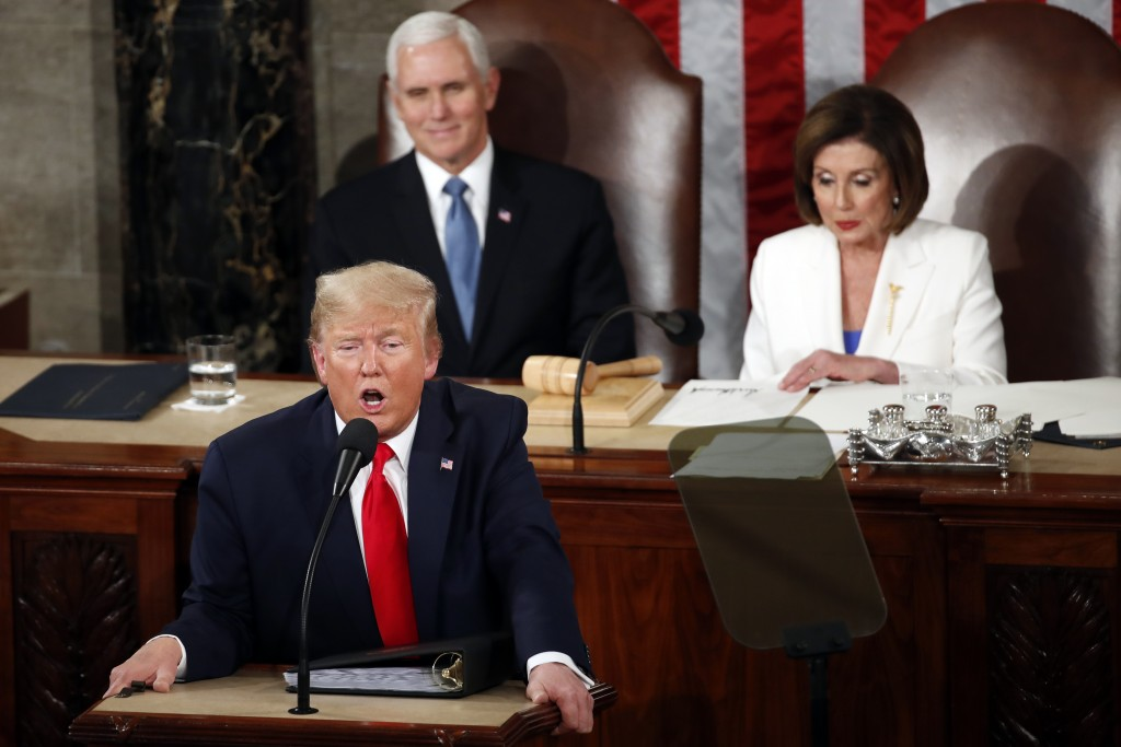 President Donald Trump delivers his State of the Union address to a joint session of Congress on Capitol Hill in Washington, Tuesday, Feb. 4, 2020, as...