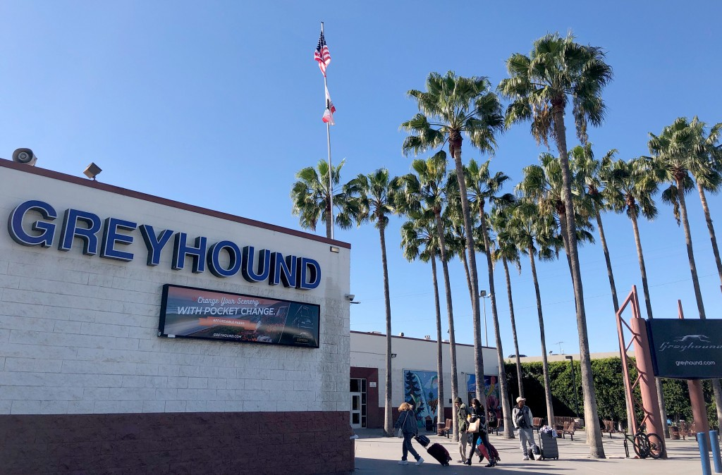 The downtown Los Angeles Greyhound bus station is seen Tuesday, Feb. 4, 2020. It was the embarkation point Monday for the Bay Area-bound bus on which ...