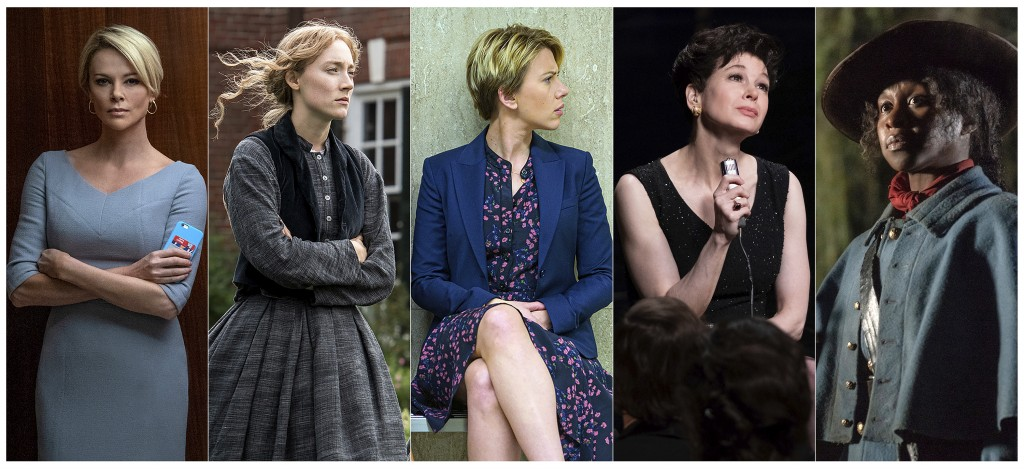"""This combination of photos shows lead actress Oscar nominees, from left, Charlize Theron in """"Bombshell,"""" Saoirse Ronan in """"Little Women,"""" Scarlett Joh..."""