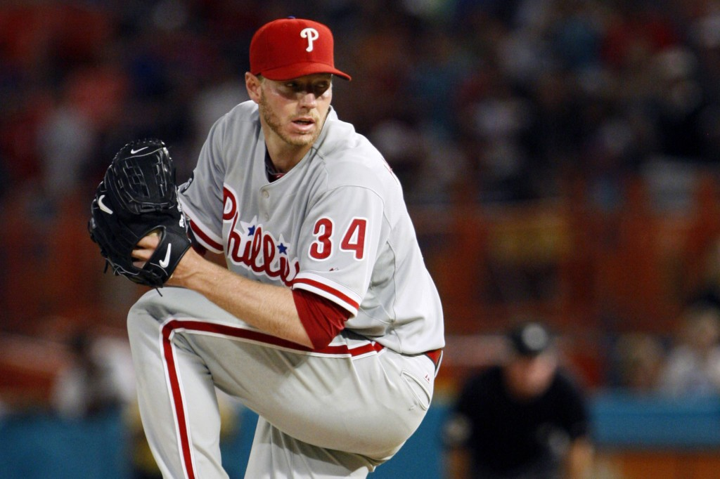 FILE - In this May 29, 2010, file photo, Philadelphia Phillies starting pitcher Roy Halladay throws a pitch in the ninth inning of a baseball game aga...