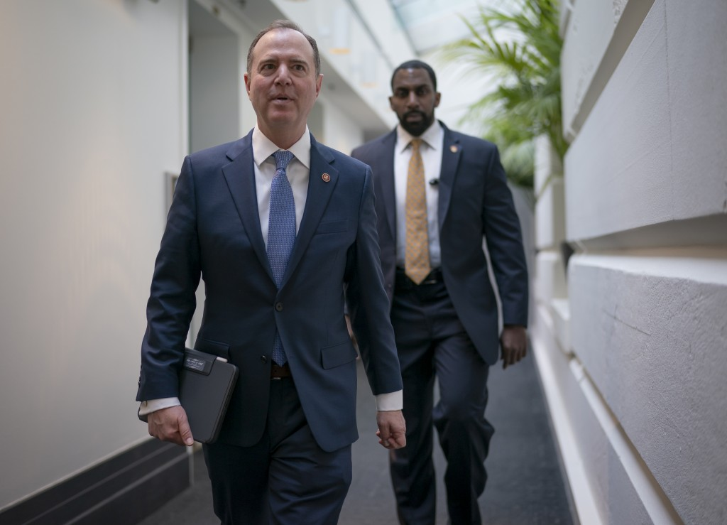 Lead House impeachment manager, Intelligence Committee Chairman Adam Schiff, D-Calif., arrives to meet with fellow Democrats at the Capitol in Washing...