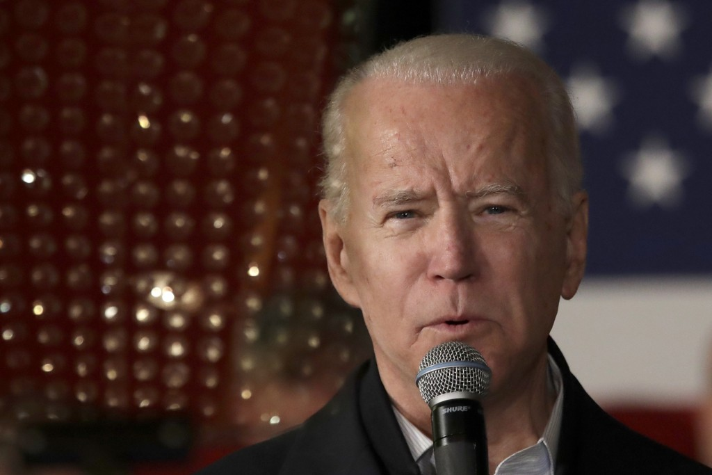 Democratic presidential candidate former Vice President Joe Biden speaks at a campaign event, Wednesday, Feb. 5, 2020, in Somersworth, N.H. (AP Photo/...