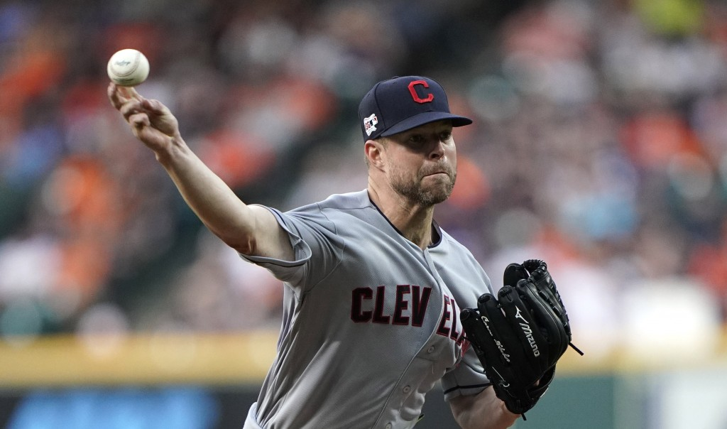 FILE - In this April 26, 2019, file photo, Cleveland Indians starting pitcher Corey Kluber throws against the Houston Astros during the first inning o...