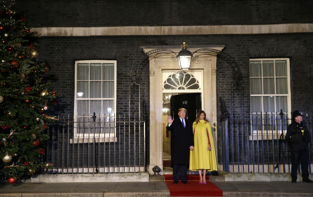 FILE - In this Dec. 3, 2019, file photo, U.S. President Donald Trump and first lady Melania arrive at 10 Downing Street in London ahead of a NATO rece...