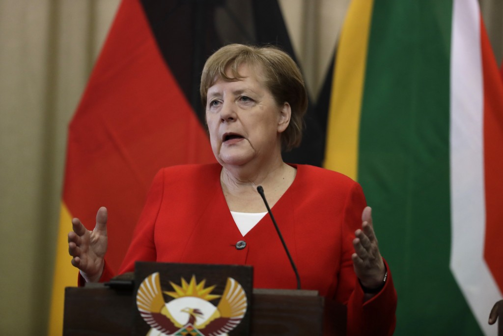 German Chancellor Angela Merkel speaks during a press conference with South African President Cyril Ramaphosa, at the government's Union Buildings in ...