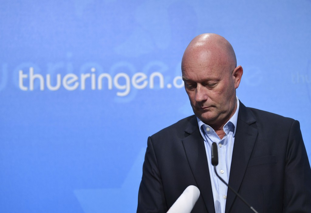 Thuringian state governor Thomas Kemmerich of the Free Democrats party briefs the media during a news conference in Erfurt, Germany, Thursday, Feb. 6,...