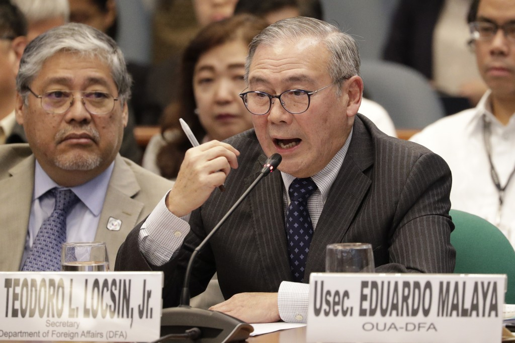 Philippine Secretary of Foreign Affairs Teodoro Locsin Jr. gestures during a senate hearing in Manila, Philippines on Thursday, Feb. 6, 2020. The Phil...