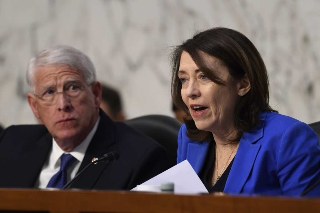 Senate Commerce, Science, and Transportation Committee ranking member Sen. Maria Cantwell, D-Wash., asks a question during a hearing on Capitol Hill i...