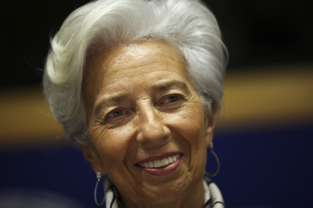 European Central Bank President Christine Lagarde arrives to a monetary dialogue meeting at the European Parliament in Brussels, Thursday, Feb. 6, 202...