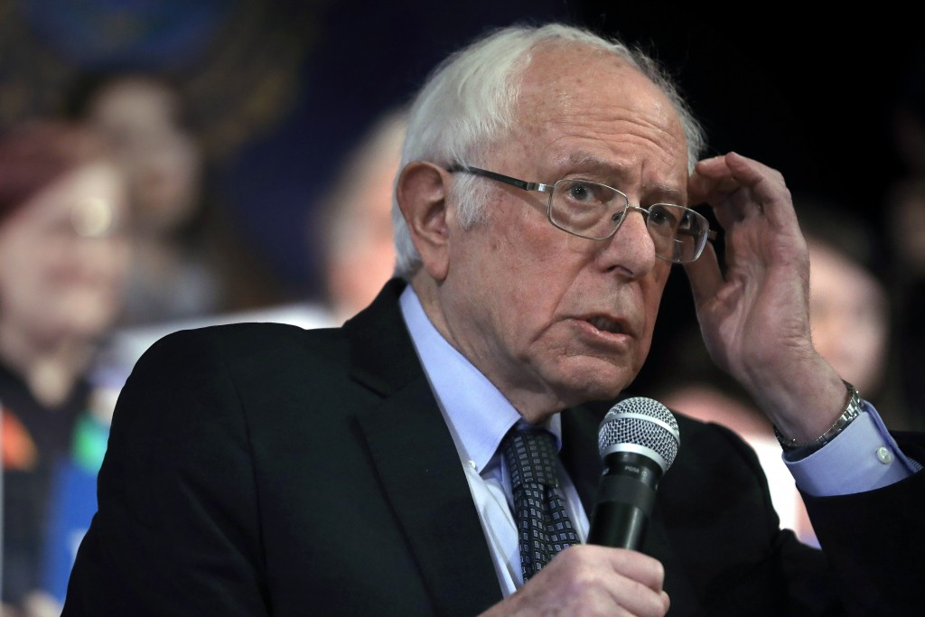 Democratic presidential candidate Sen. Bernie Sanders, I-Vt., addresses an audience during a campaign rally, Wednesday, Feb. 5, 2020, in Derry, N.H. (...