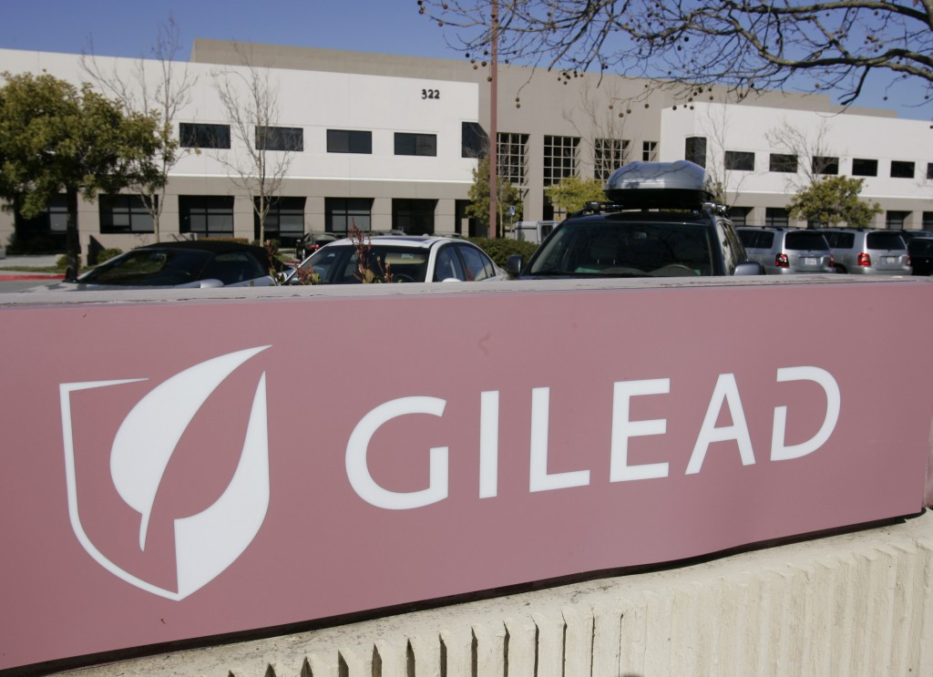 FILE - This Thursday, March 12, 2009, file photo shows Gilead Sciences Inc. headquarters in Foster City, Calif. Scientists in the city at the center o...