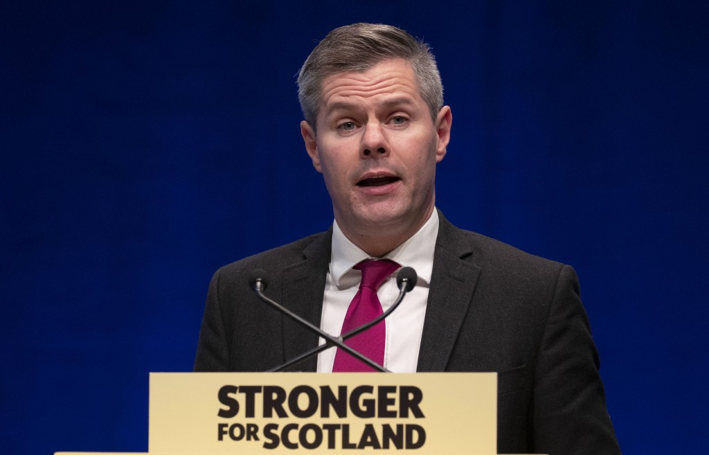 FILE - In this file photo dated File photo dated 1Oct. 4, 2019, Scotland's Finance Secretary Derek Mackay.  It is announced that Mackay has resigned w...