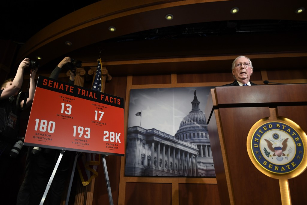 Senate Majority Leader Mitch McConnell of Ky., speaks during a news conference on Capitol Hill in Washington, Wednesday, Feb. 5, 2020, following a vot...