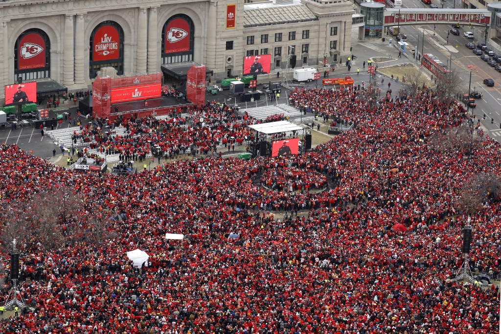 Fans gather for a rally in front of Union Station after a parade through downtown Kansas City, Mo., Wednesday, Feb. 5, 2020, to celebrate the Kansas C...