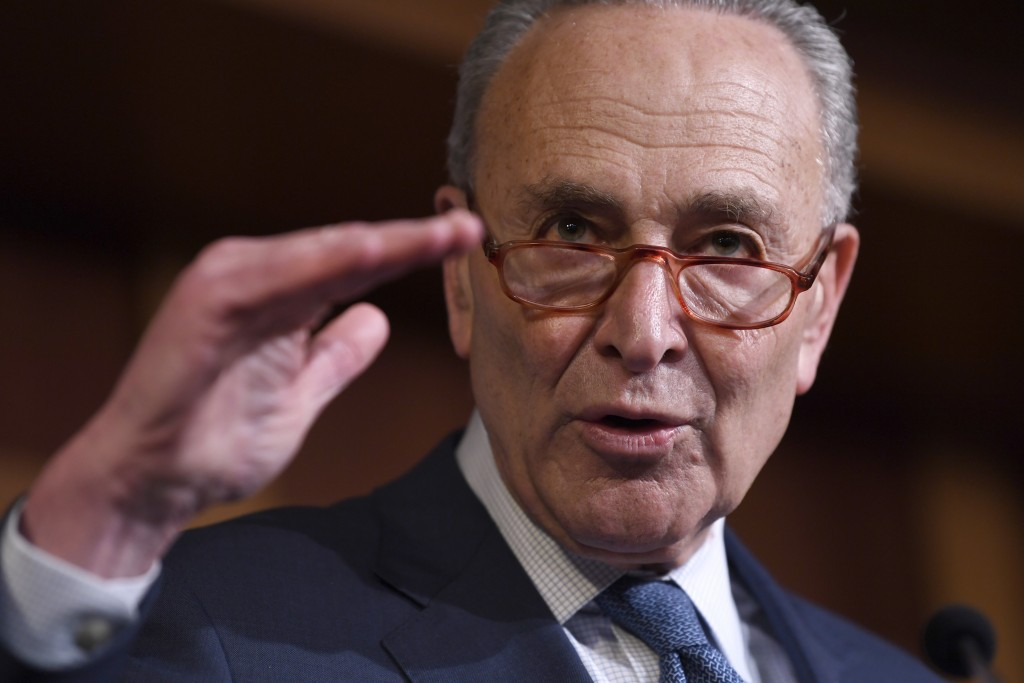 Senate Minority Leader Sen. Chuck Schumer of N.Y., speaks during a news conference on Capitol Hill in Washington, Wednesday, Feb. 5, 2020, following a...